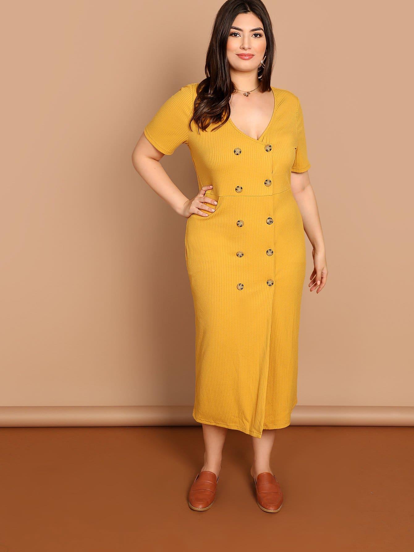 Фото - Плюс размеры двубортное вязанное платье от SheIn цвет жёлтые