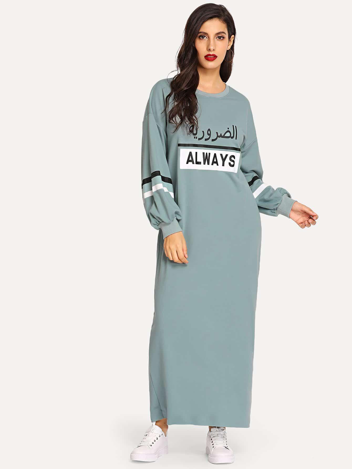 Купить Длинное платье с текстовым принтом, Jeane, SheIn
