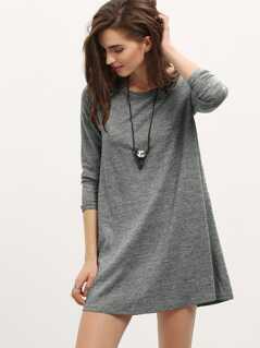 Long Sleeve Heathered Grey Dress