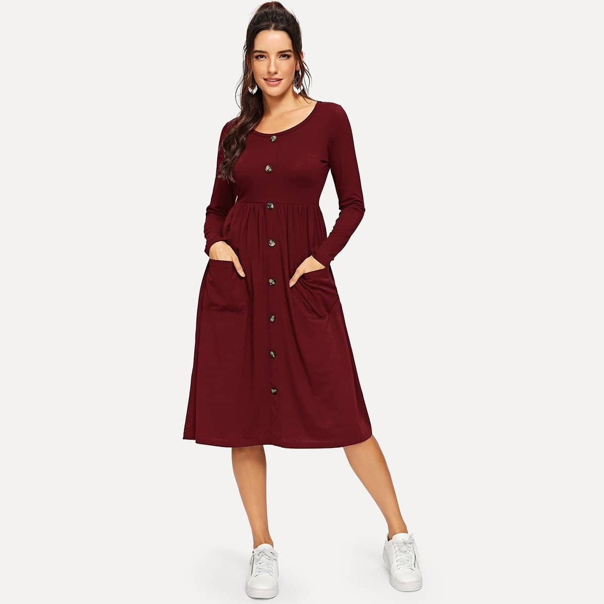 Платье клеш на пуговицах с карманом