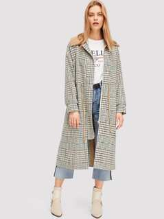 Fleece Collar Plaid Coat