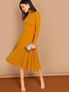 Mock Neck Glitter Fit & Flare Dress
