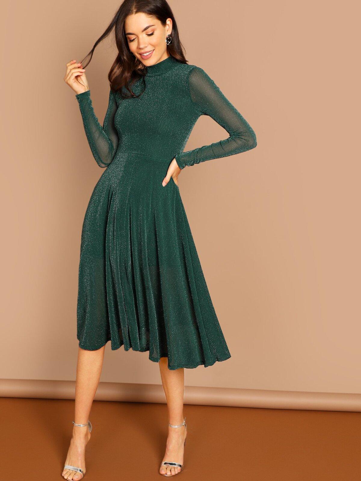 小襯衫領 閃爍裝飾色  合身 大喇叭褲 洋裝