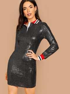 Snap Button Front Stripe Trim Sequin Dress