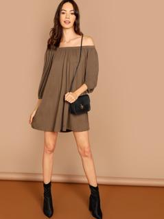 Off Shoulder Solid Dress