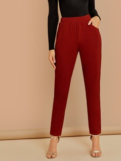 Wide Waistband Solid Pants