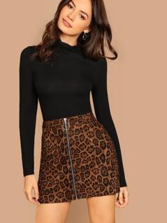 O-Ring Zip Up Skirt