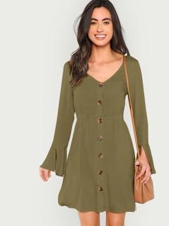 Split Bell Cuff Button Front Dress
