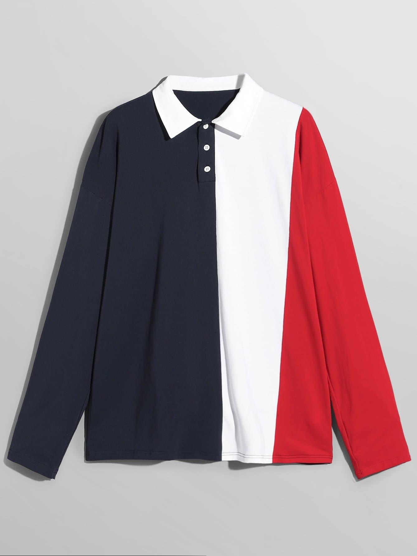 Купить Мужская контрастная поло рубашка на пуговицах, null, SheIn