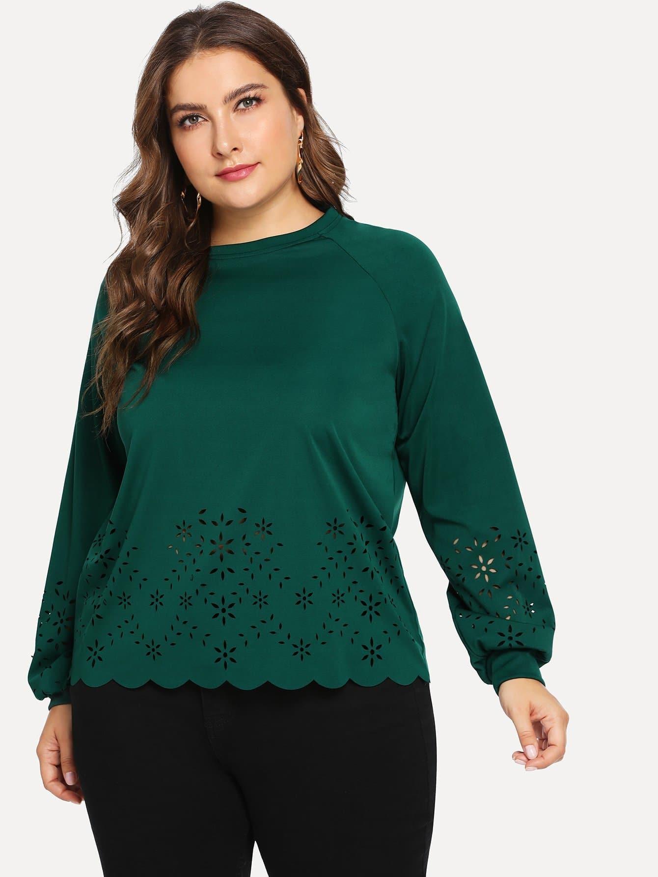 Купить Плюс размеры одноцветная ажурная блузка, Franziska, SheIn