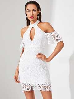 Cold Shoulder Cut Out Front Guipure Lace Dress