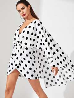 Polka Dot Tie Waist Surplice Wrap Dress