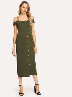 Cold Shoulder Foldover Front Buttoned Utility Dress
