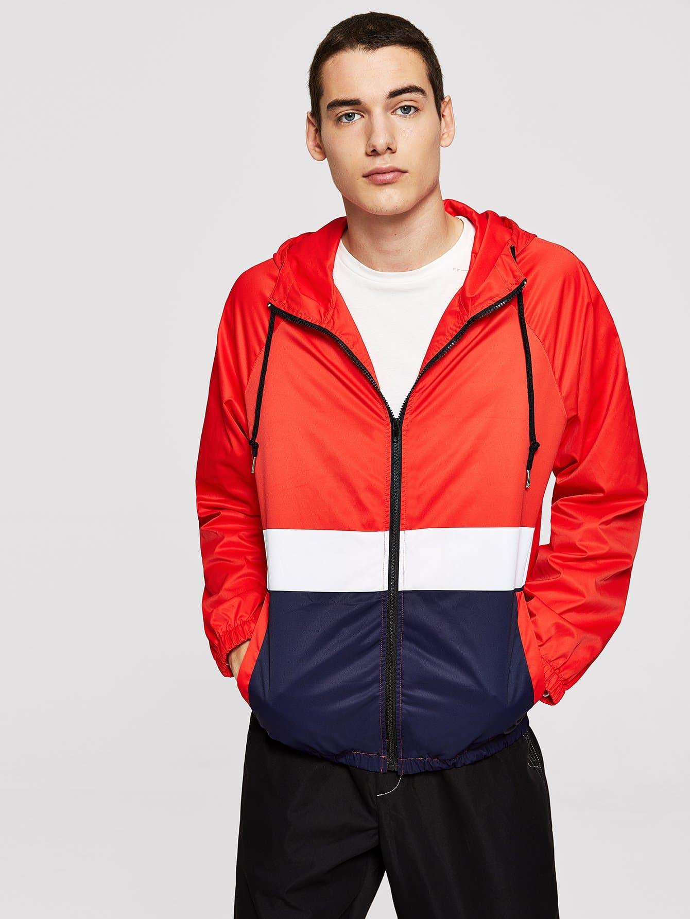 Купить Для мужчин контрастное пальто с капюшоном на молнии, Misha, SheIn