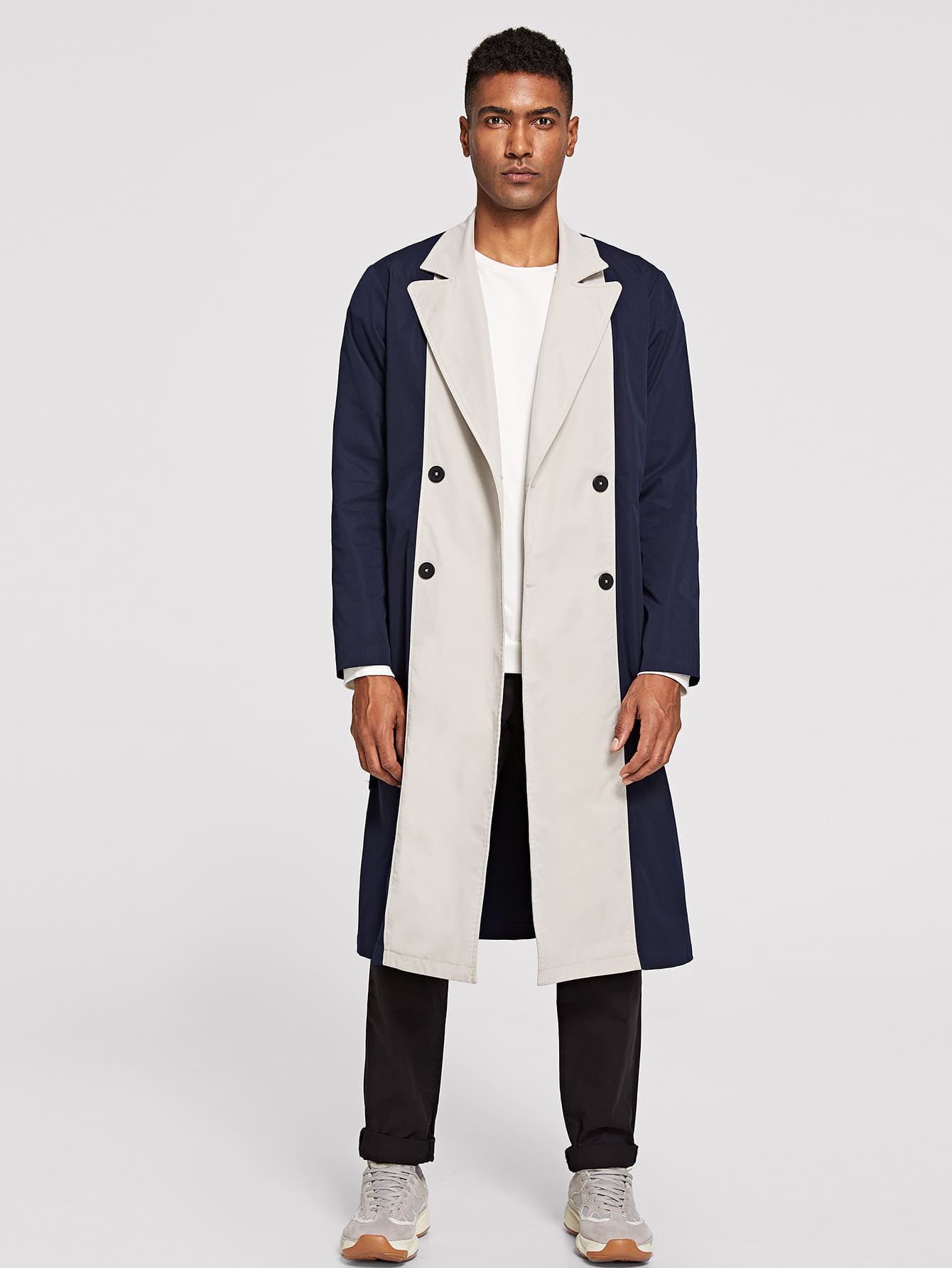 Купить Мужское двухцветное двубортное длинное пальто с поясом, Johnn Silva, SheIn
