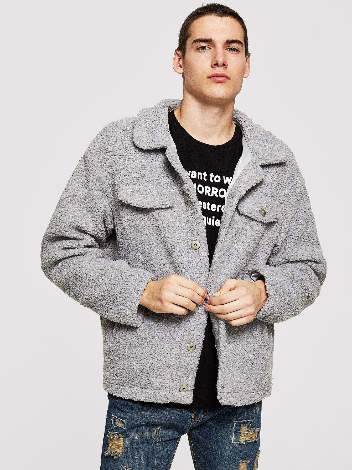 Купить Для мужчин пальто на пуговицах с карманом, Misha, SheIn