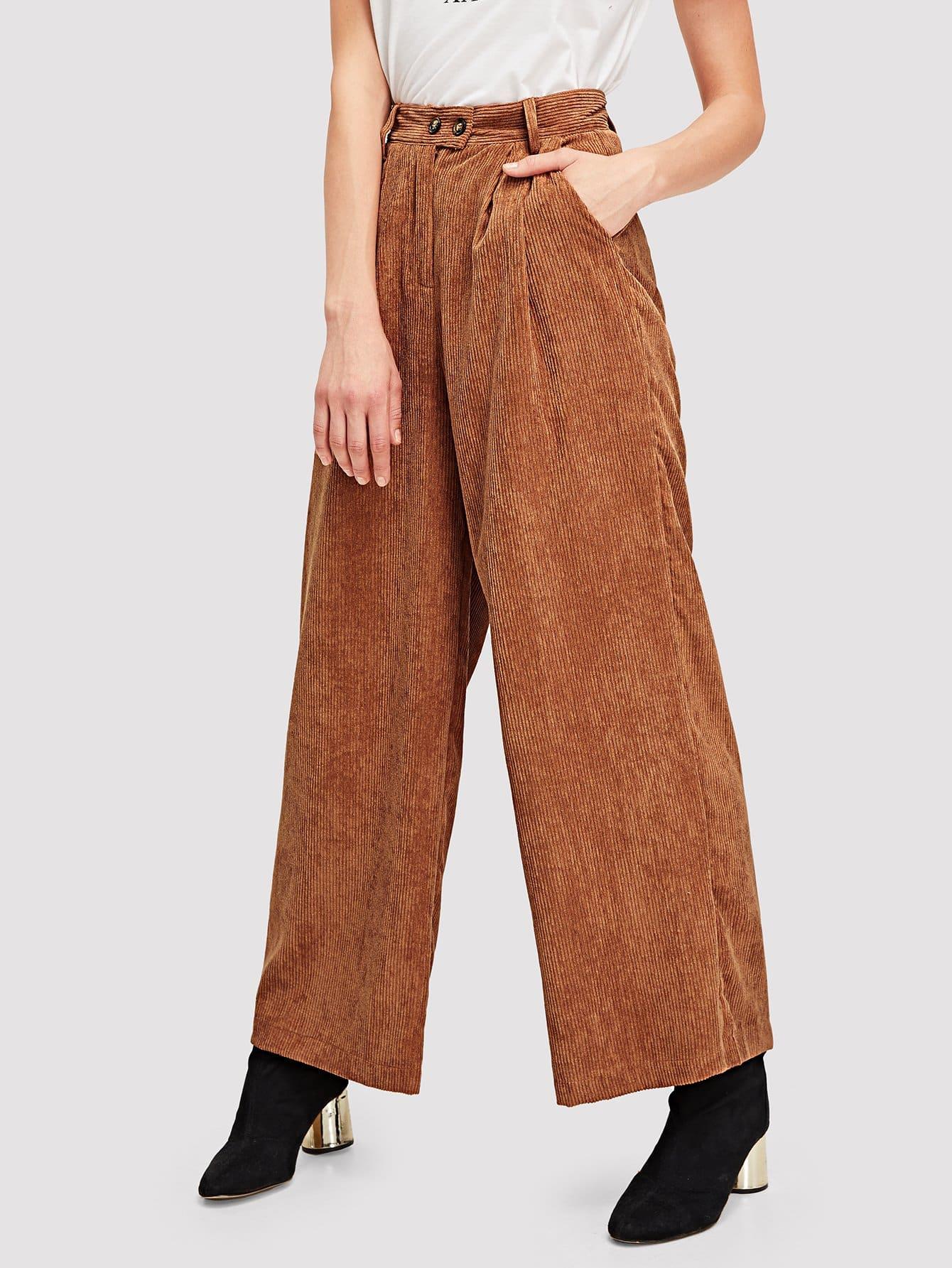 Фото - Одноцветные широкие брюки от SheIn коричневого цвета