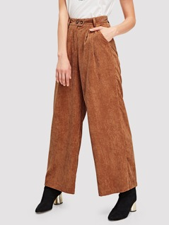 Boxed Pleated Wide Leg Cord Pants