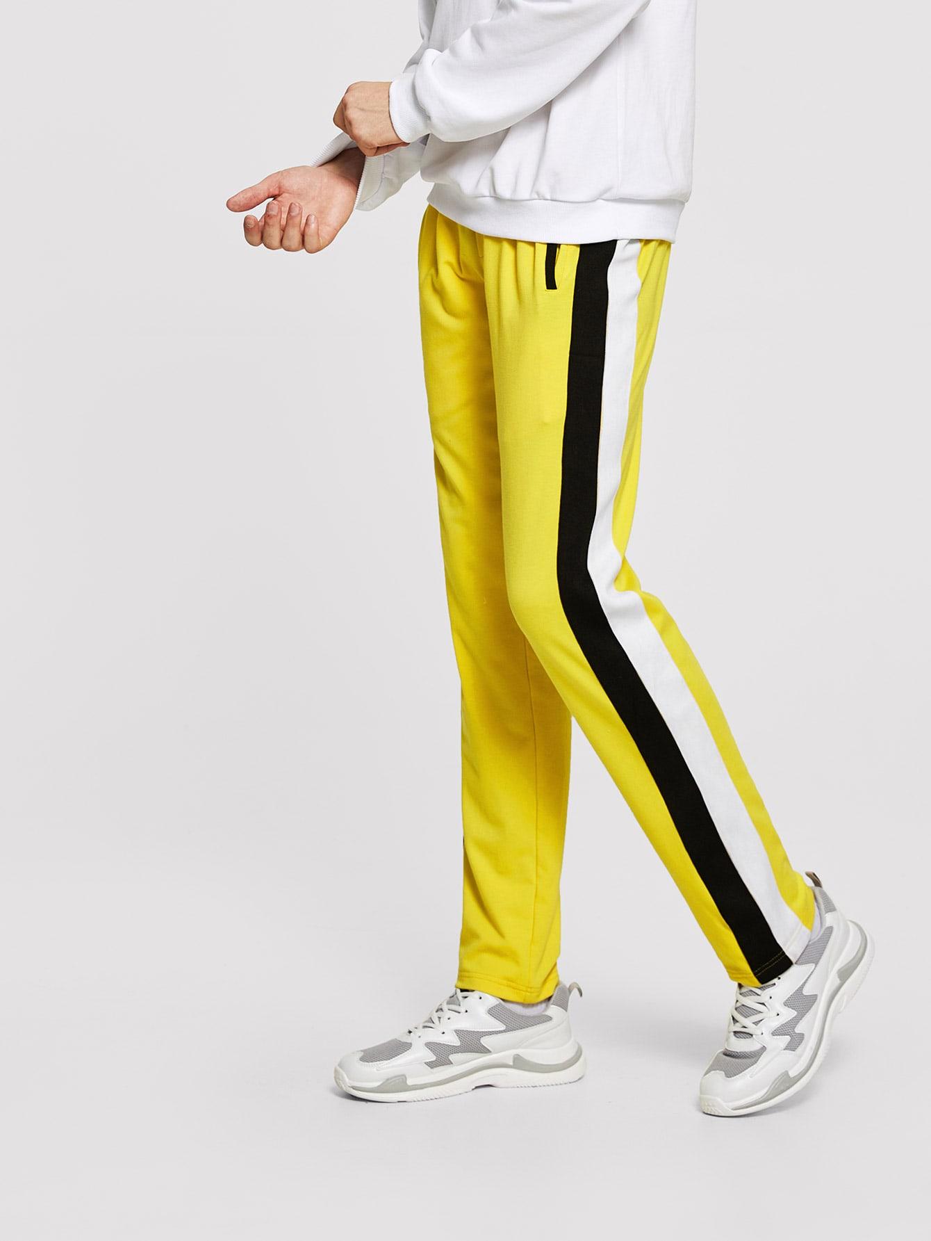 Купить Для мужчин брюки с кулиской на талии с карманом, Misha, SheIn