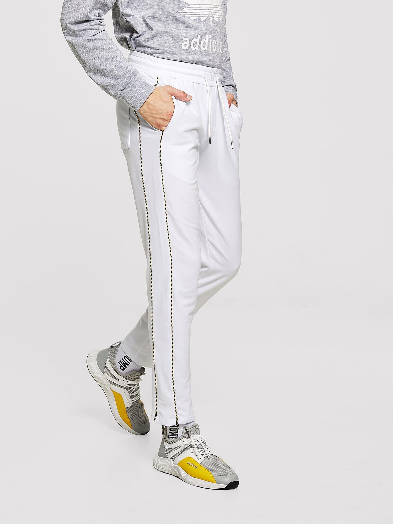 Купить Мужские брюки с контрастными оторочками и карманами, Misha, SheIn