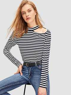Cut-Out Shoulder Striped Tee