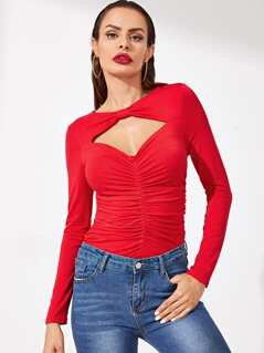Cut Out Front Ruched Fitted Tee