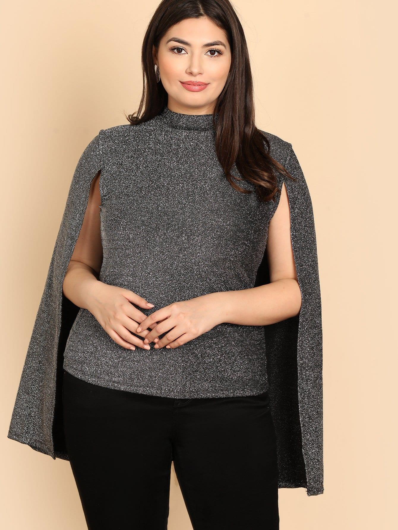 Фото - Плюс размера блестящая футболка с рукавом-пончом от SheIn цвет серые