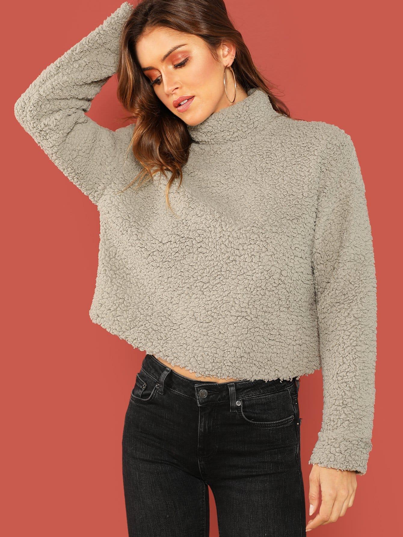 Купить Твердый тедди пуловер с ложным вырезом, Gigi Paris, SheIn