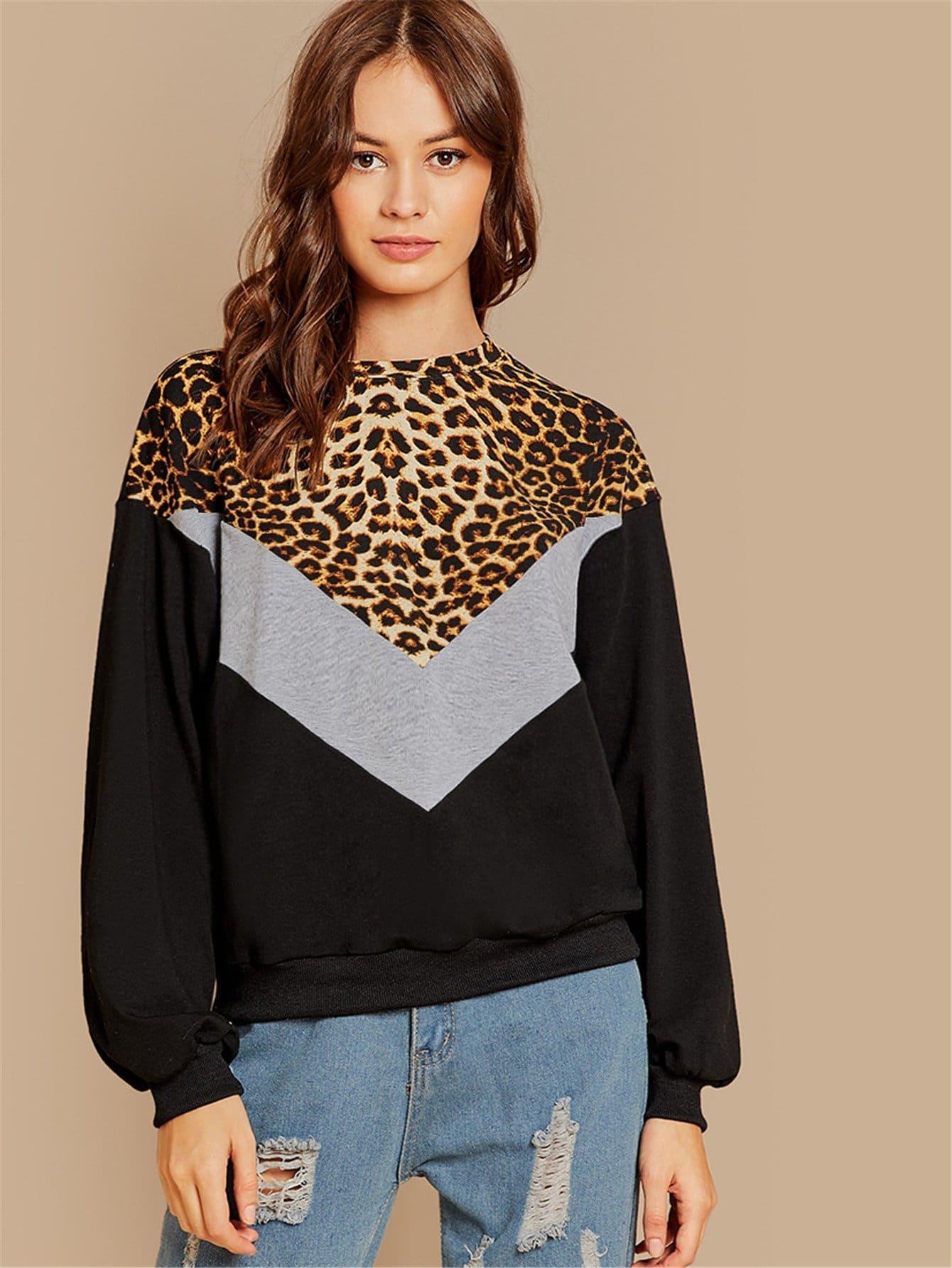 Купить Леопардовый контрастный туника пуловер, Beate Muska, SheIn