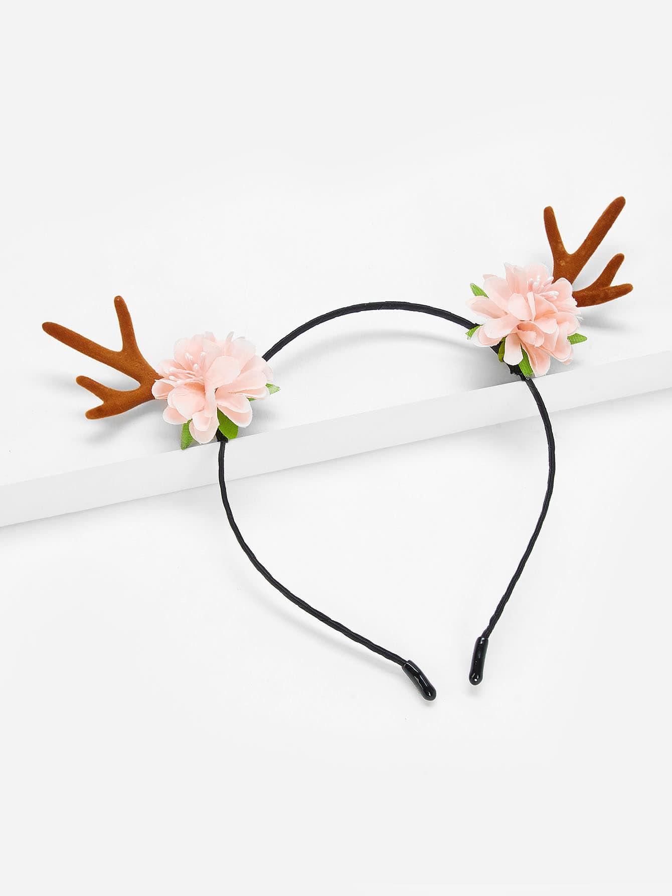 Купить Ободок для волос и с украшением цветов и рога оленьи для девочки, null, SheIn