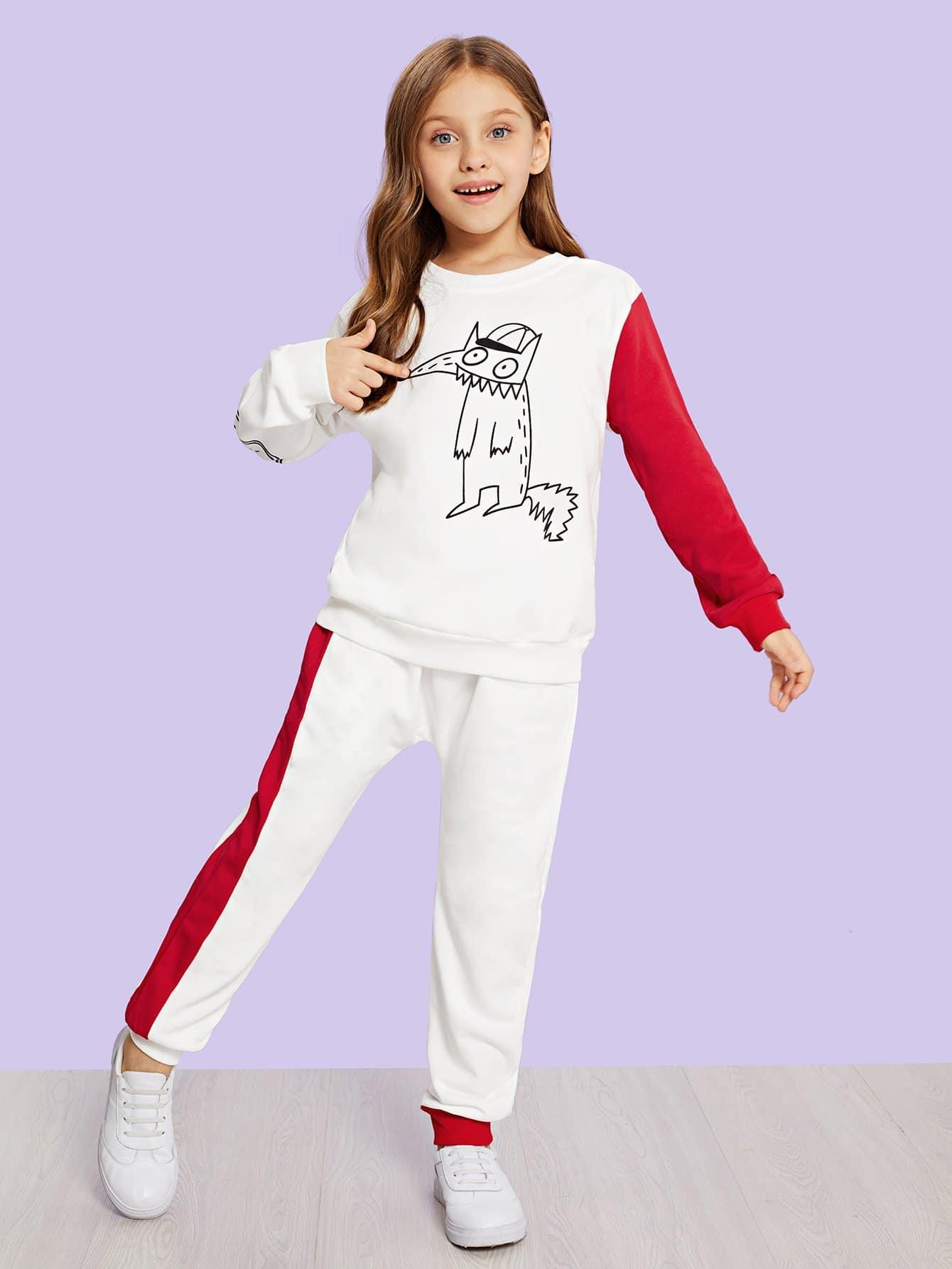 Купить Свитшот с рисунками мультипликаций и брюки для девочки, Anna C, SheIn
