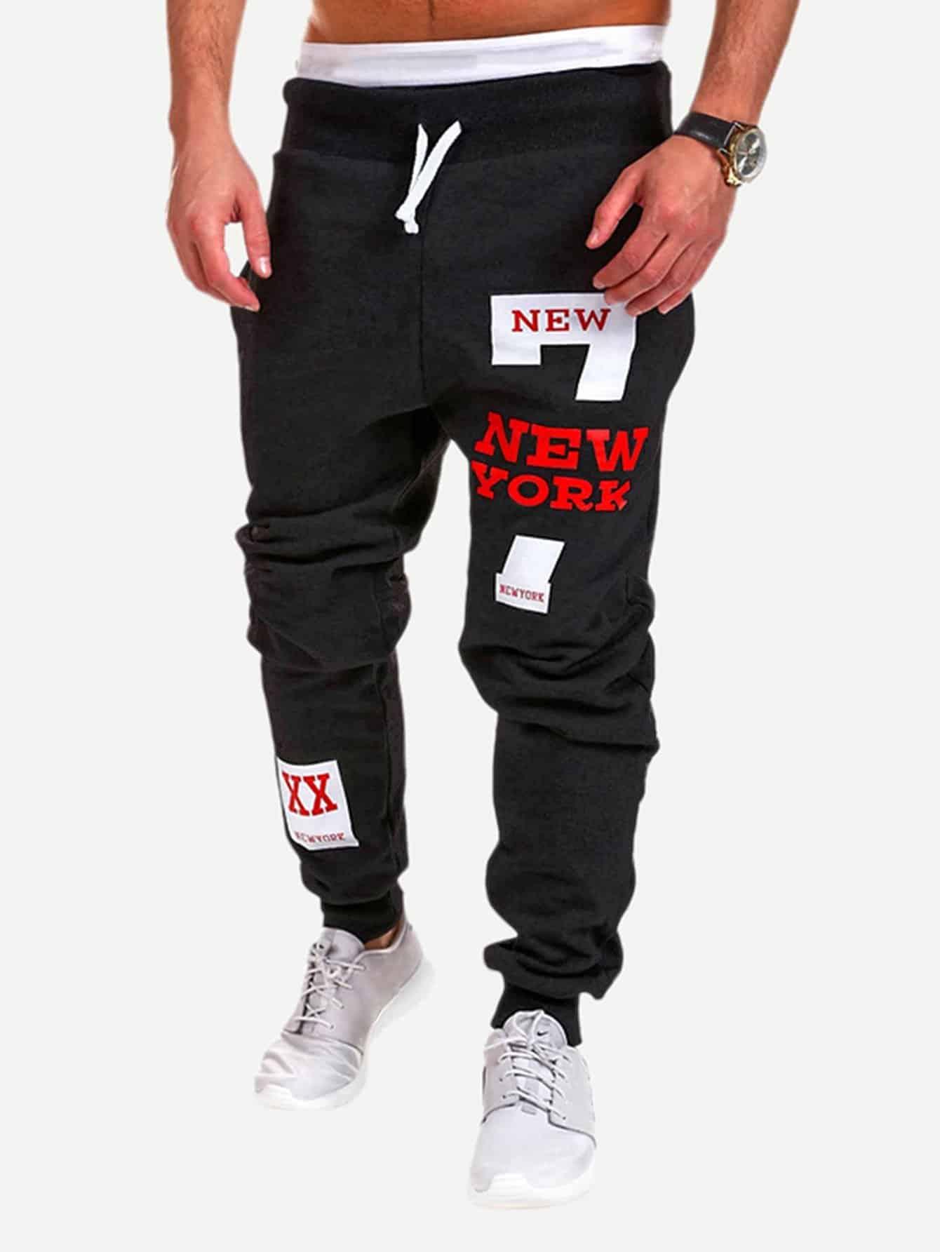 Купить Мужские спортивные брюки с текстовым принтом, null, SheIn