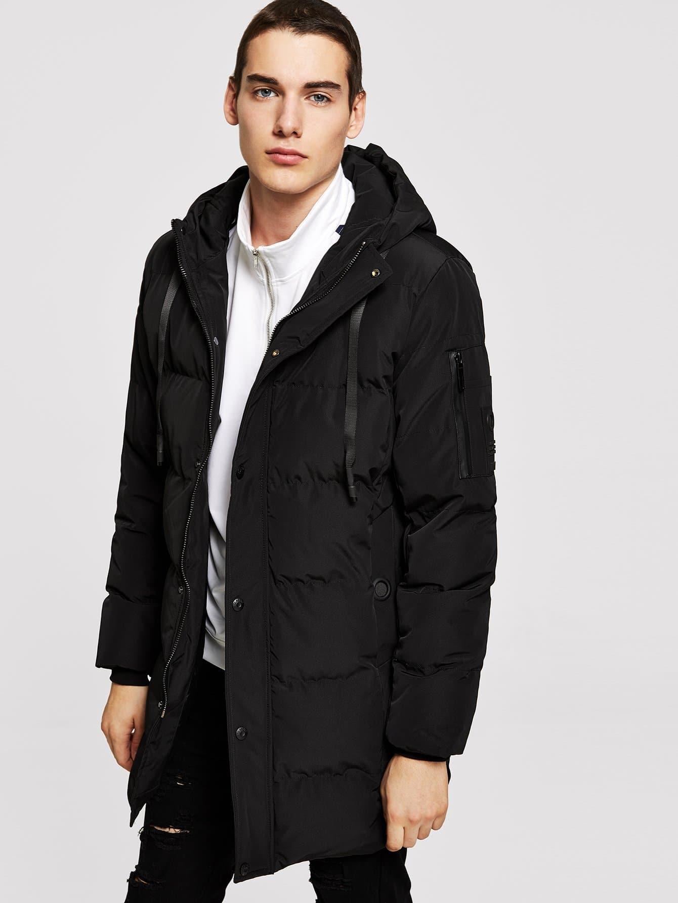 Купить Мужское контрастное пальто в полоску с капюшоном, Misha, SheIn