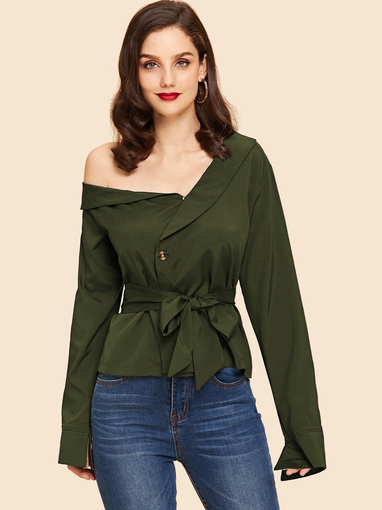 Купить Блуза с поясом и асимметричным воротником, Julie H., SheIn
