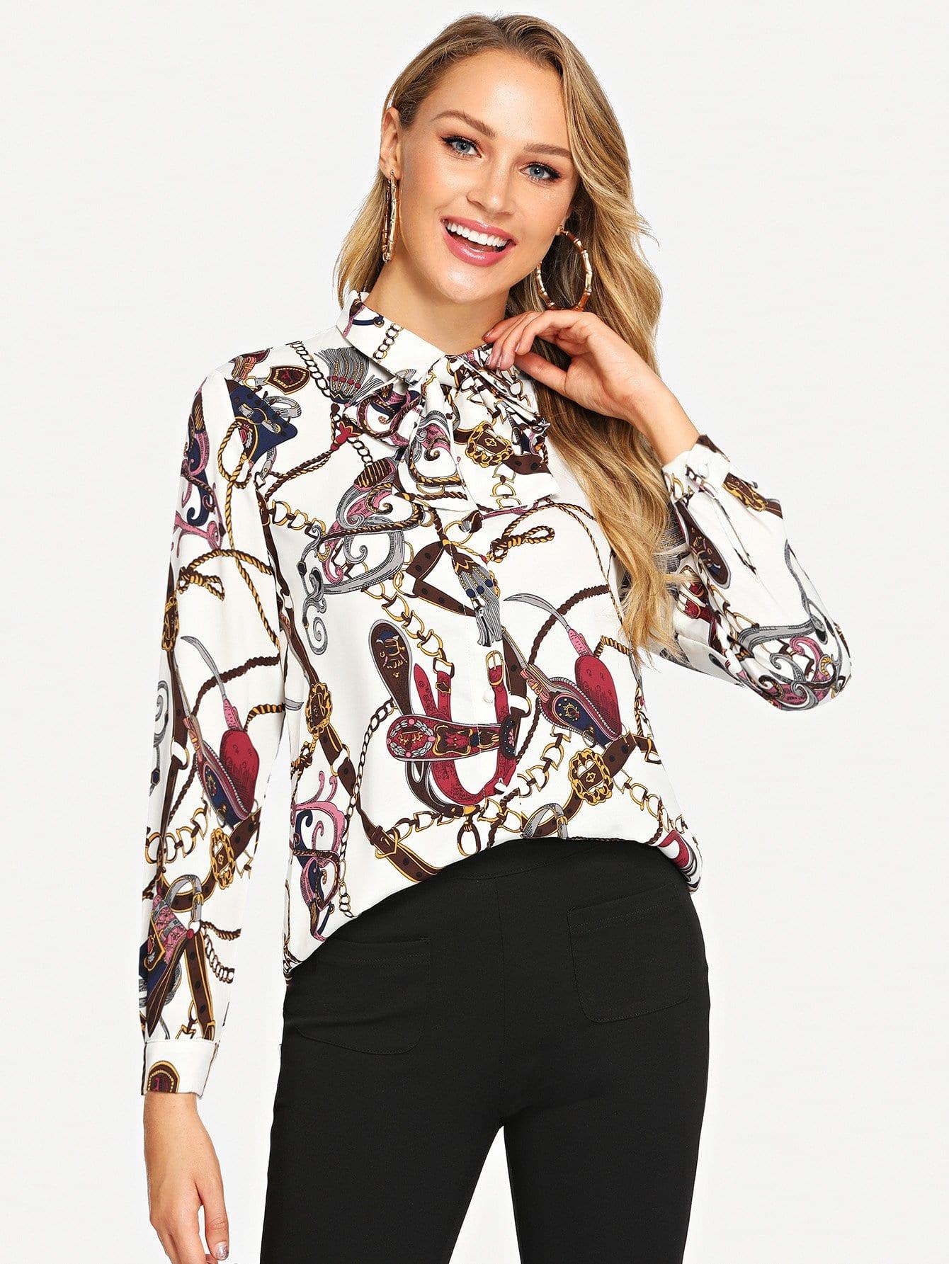 Купить Блуза с принтом графическим, Sasa, SheIn