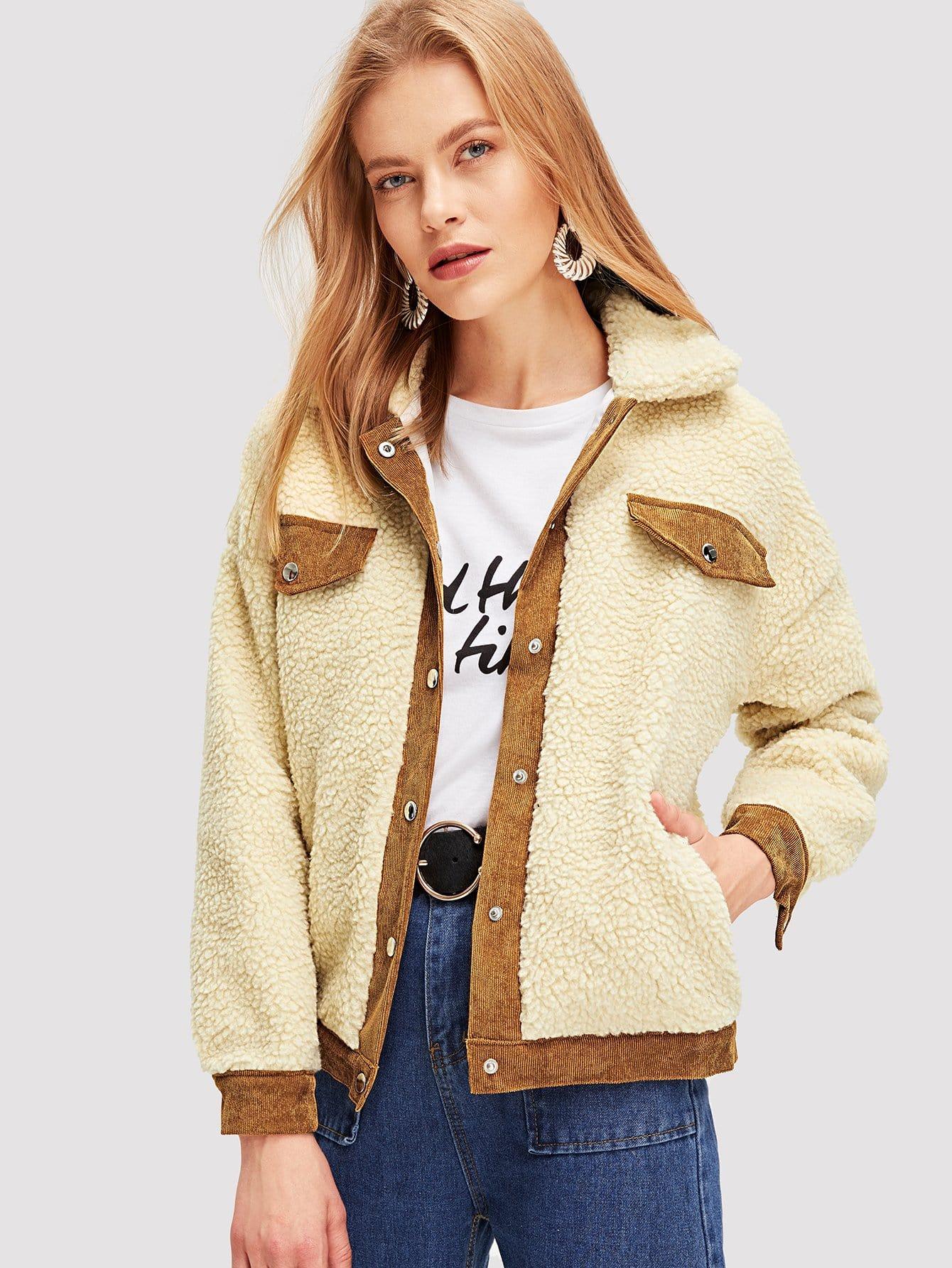 Купить Контрастная вельветовая шерстяшная ветровка, Kate C, SheIn