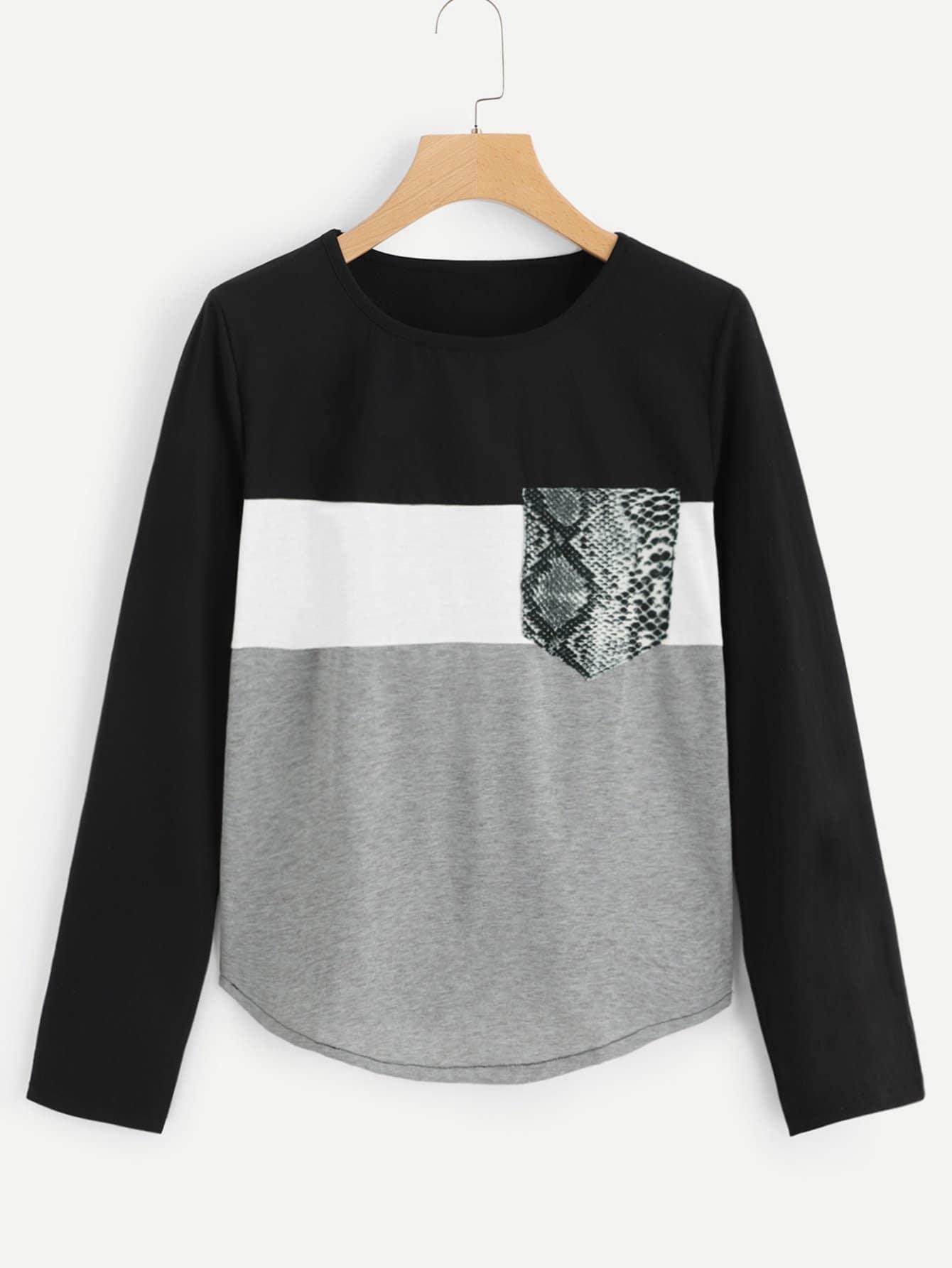 Купить Кроить и шить футболка с карманом, null, SheIn