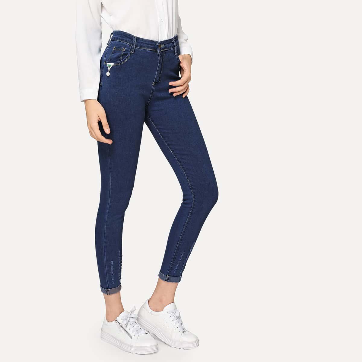 Marine Casual Vlak jeans Gescheurd