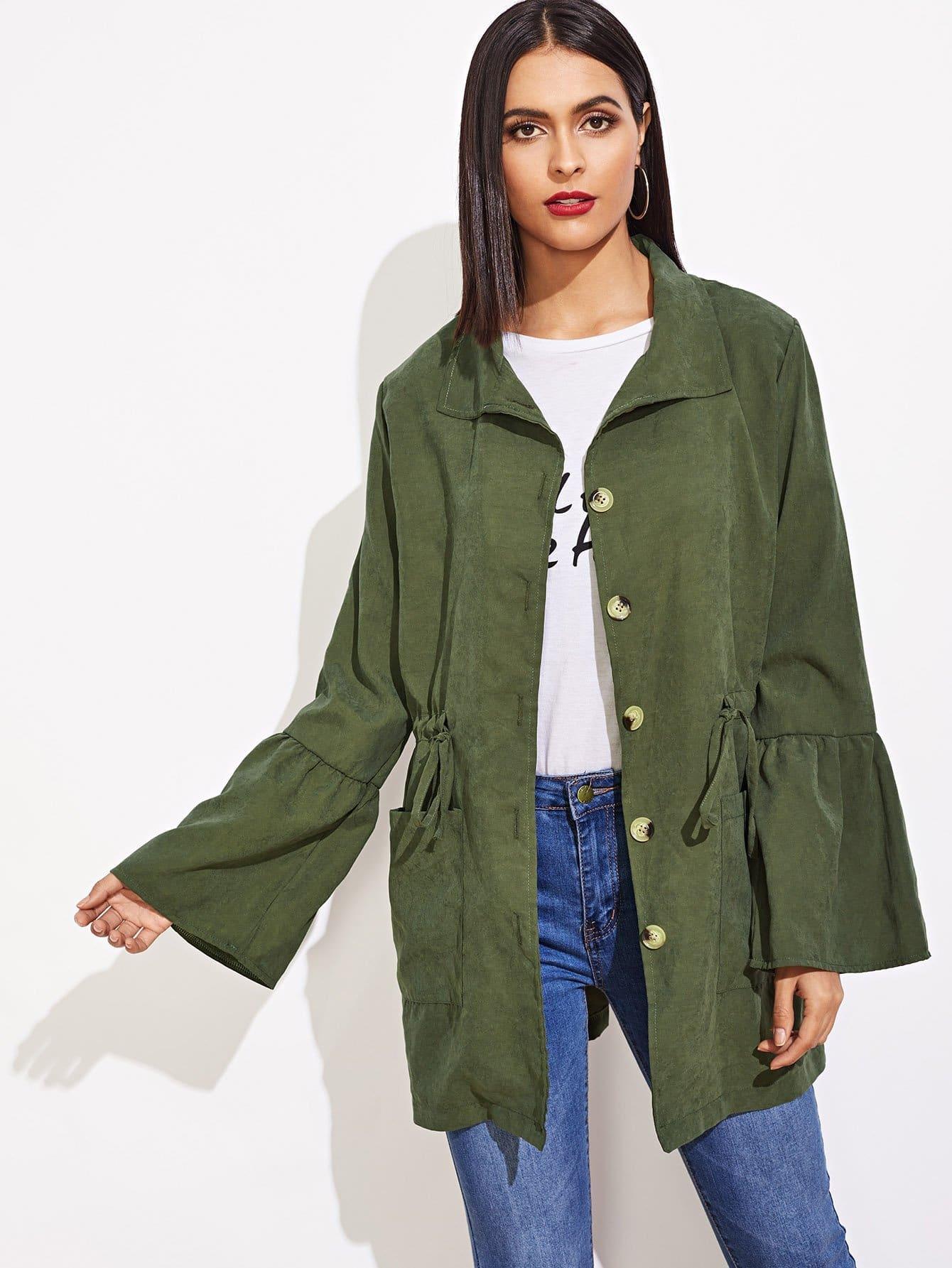 Купить Пальто с эластичной талией рукава с розеткой, Verob, SheIn