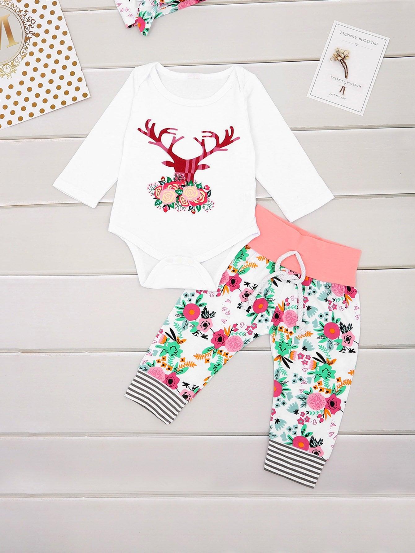 Фото - Блузу с принтом оленя и цветочные брюки и обруч для волос для маленьких девочек от SheIn цвет многоцветный