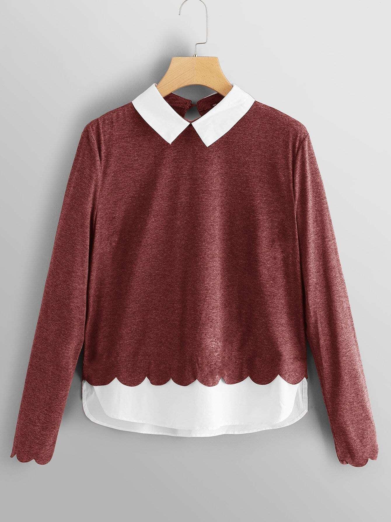 Купить Блуза с контрастным воротником и веерообразный подолл, null, SheIn