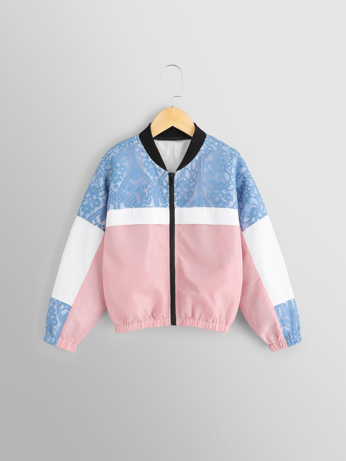 Купить Для девочек контрастная куртка, null, SheIn