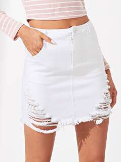 Slant Pocket Ripped Skirt