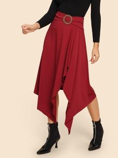Ring Buckle Belt Detail Hanky Hem Skirt