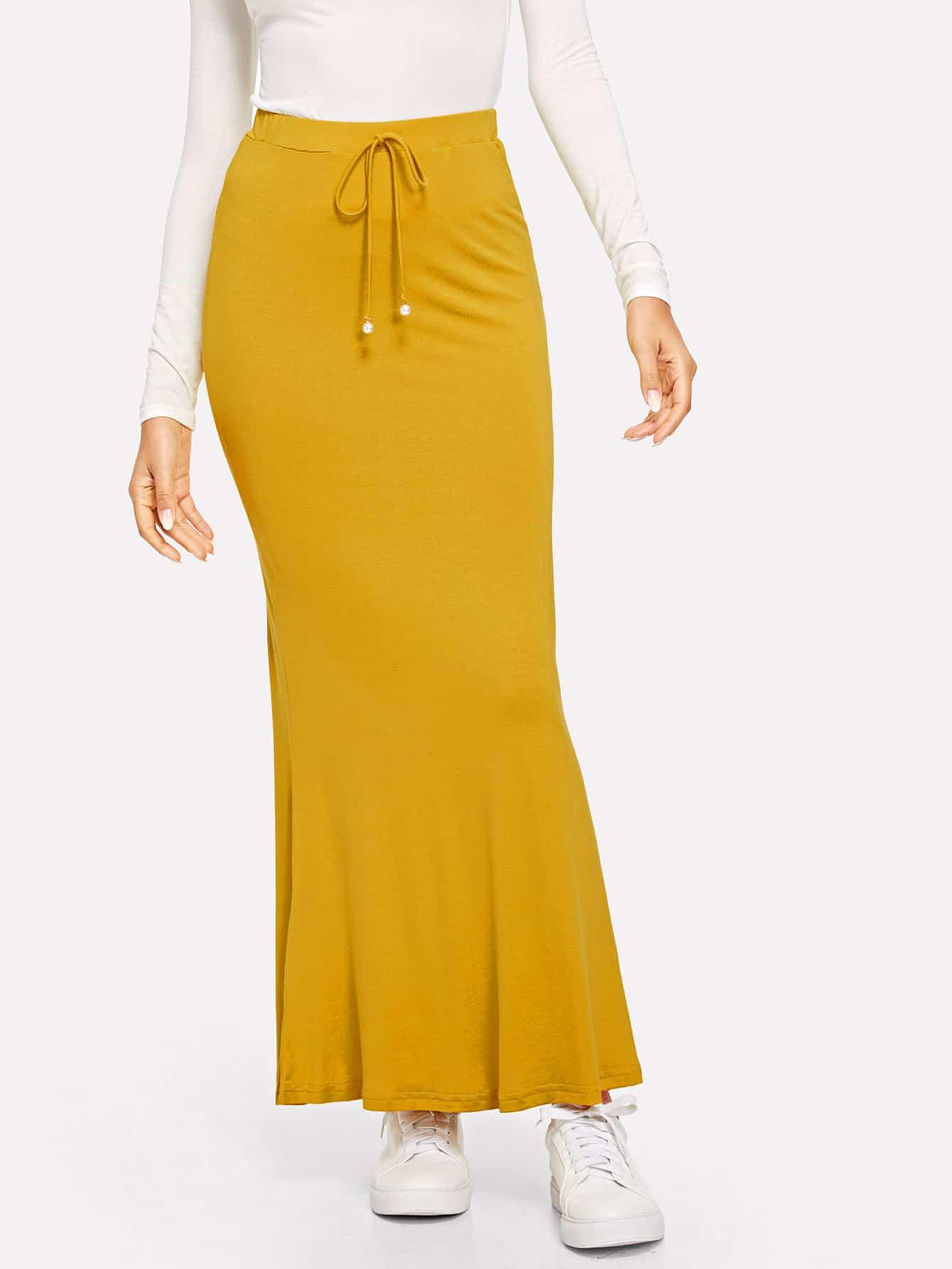 Вязанная макси юбка с узлом SheIn