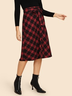 Button Up Plaid Belted Skirt