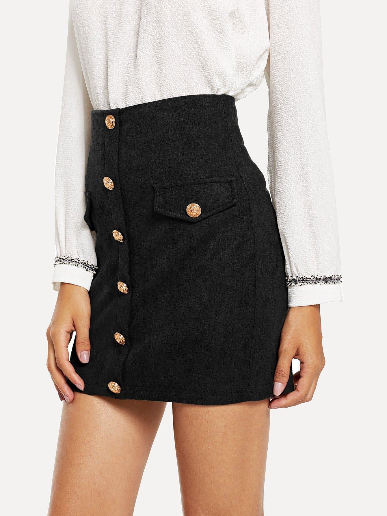 Фото - Облегающая юбка на пуговицах с карманом от SheIn черного цвета