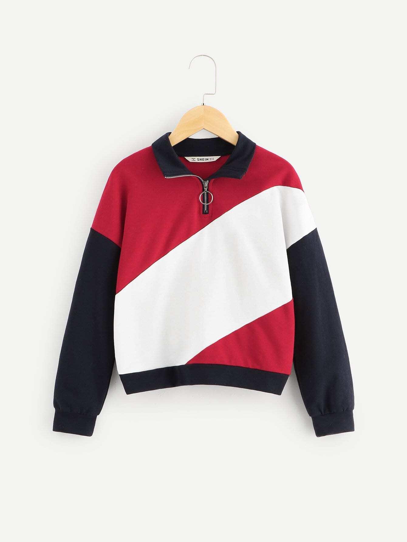 Для девочек контрастный пуловер на молнии, null, SheIn  - купить со скидкой