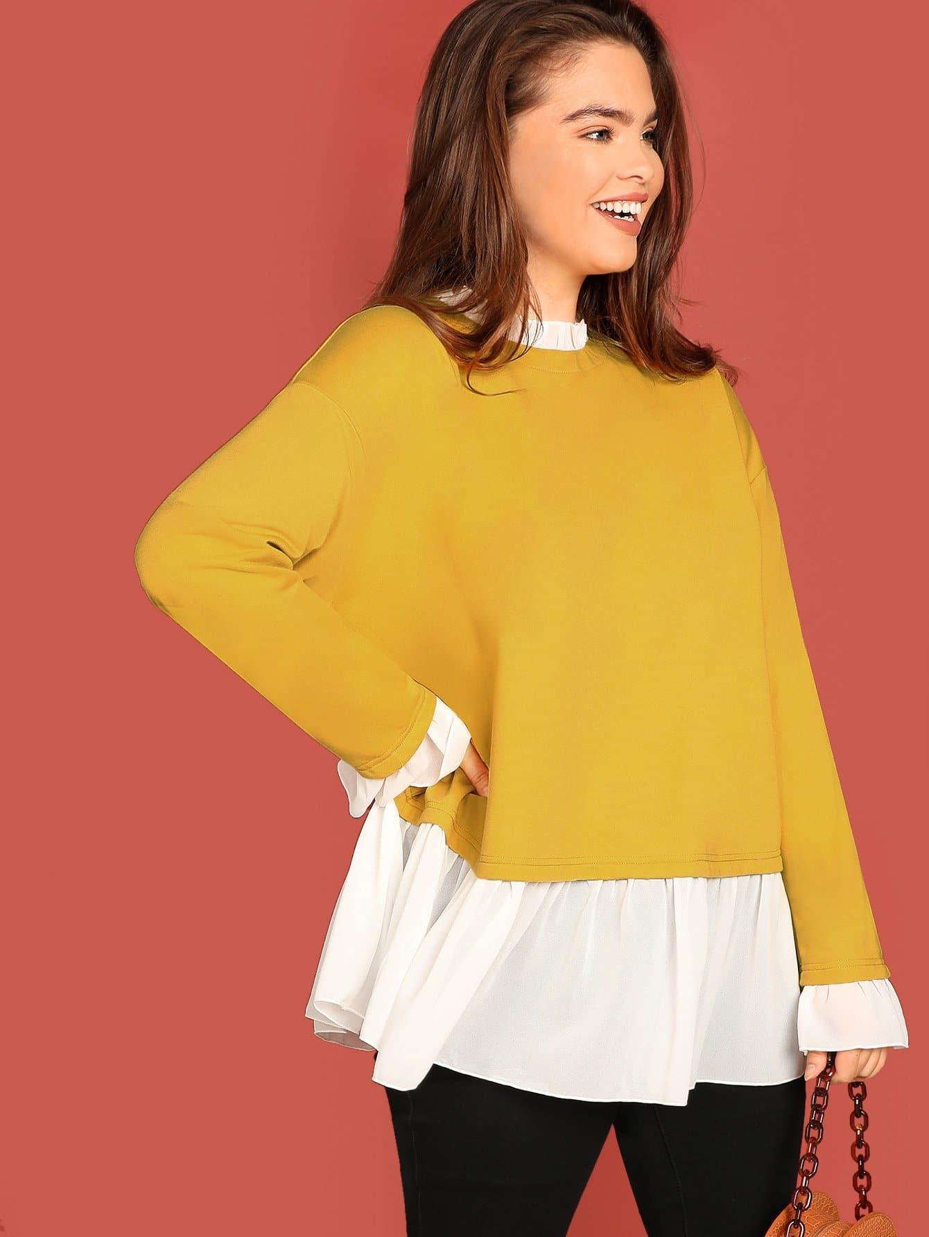 Фото - Плюс размеры свитшот с рюшами отделкой от SheIn цвет жёлтые