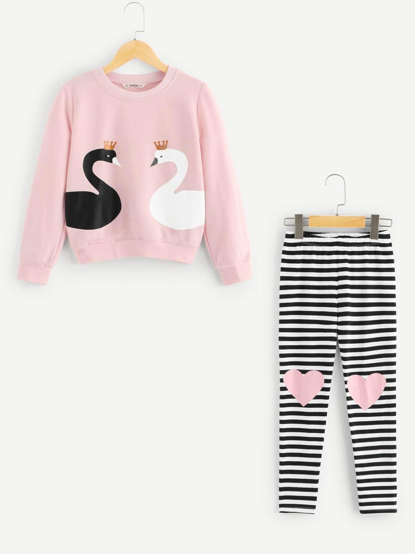 Купить Блуза с принтом животных и полосатые брюки для девочек, null, SheIn